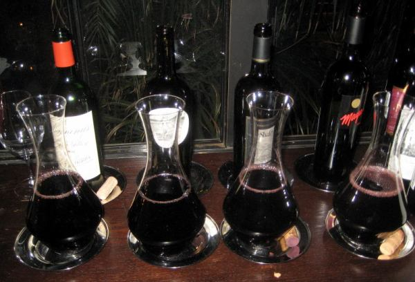 decanted wines at Alexander's Steakhouse