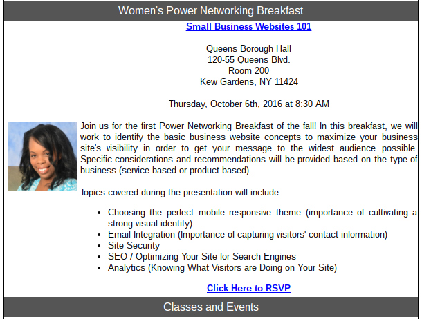 women's power networking breakfast