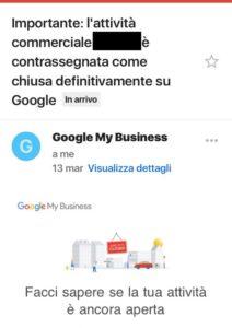 Google My Business Attività Chiusa Definitivamente