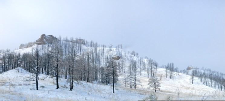 Fresh snow on Little Wolfe Ridge Panorama