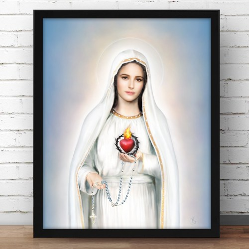 Our Lady of Fatima Immaculate Heart Framed Picture Display Image