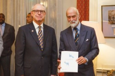 Bob Clark, Chair of the RLSS 125th Anniversary Steering Committee, presents our Commonwealth President, HRH Prince Michael of Kent GCVO, with a copy of the Survival Swimming Guide.