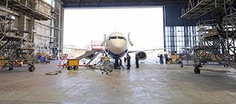 An aircraft under maintenance