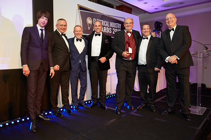 The R&M Fixings Team accepting their award at the Electrical Industry Awards 2019