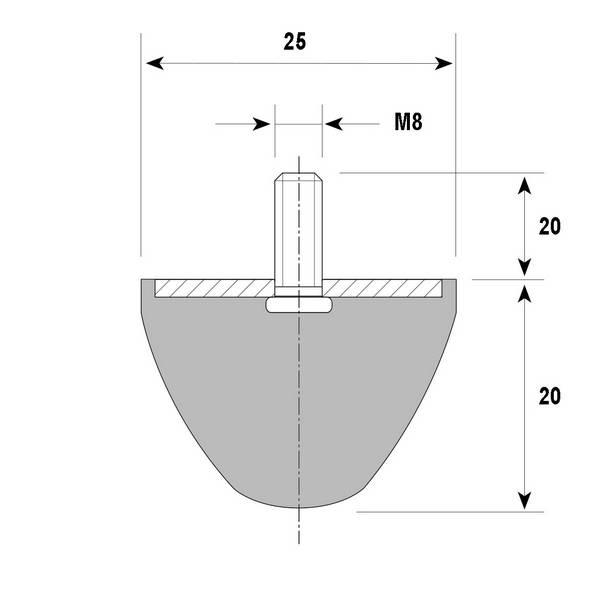 Tampon amortisseur conique caoutchouc Ø25 x 20 mm • Tige filetée M8 x 20 mm