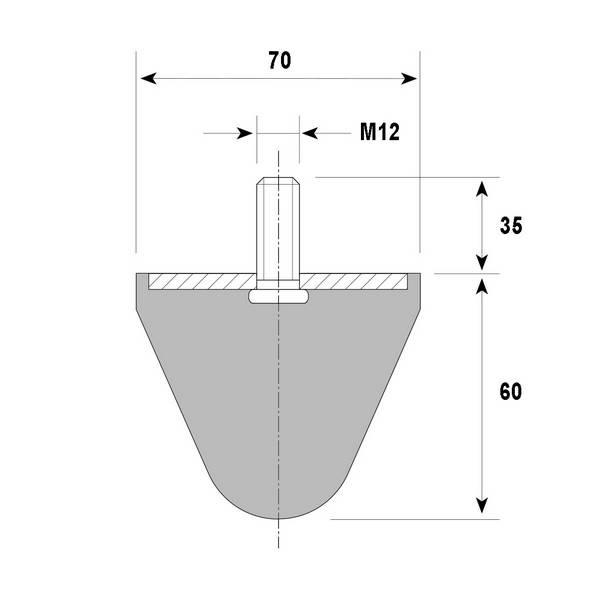 Tampon amortisseur conique caoutchouc Ø70 x 60 mm • Tige filetée M12 x 35 mm