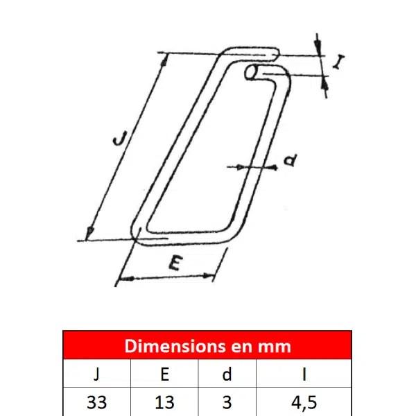 Linguet           de sécurité en fil d'acier • Type 33