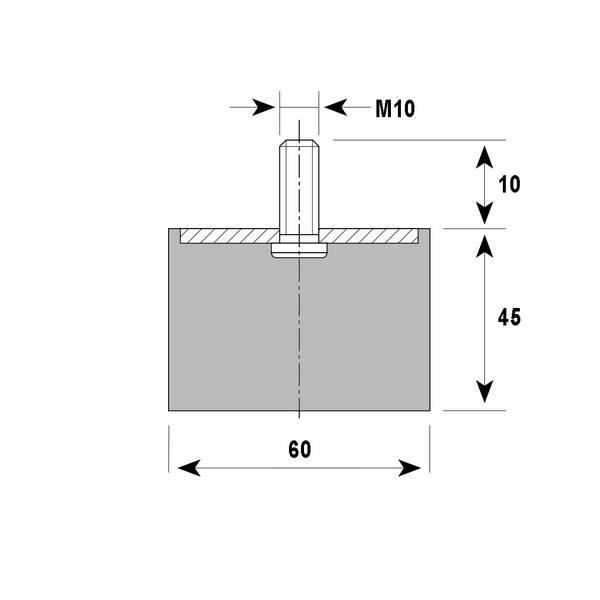 Tampon amortisseur cylindrique caoutchouc Ø60 x 45 mm • Tige filetée M10 x 30 mm