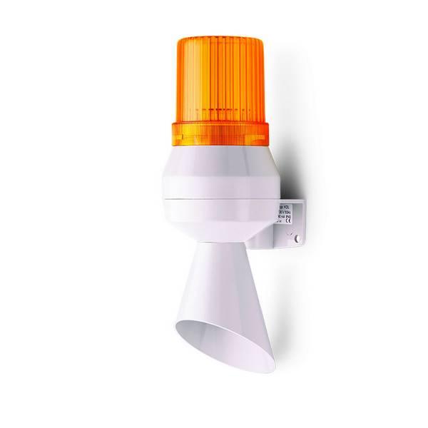 Avertisseur       combiné feu fixe orange à ampoule • trompe à son continu 90dB