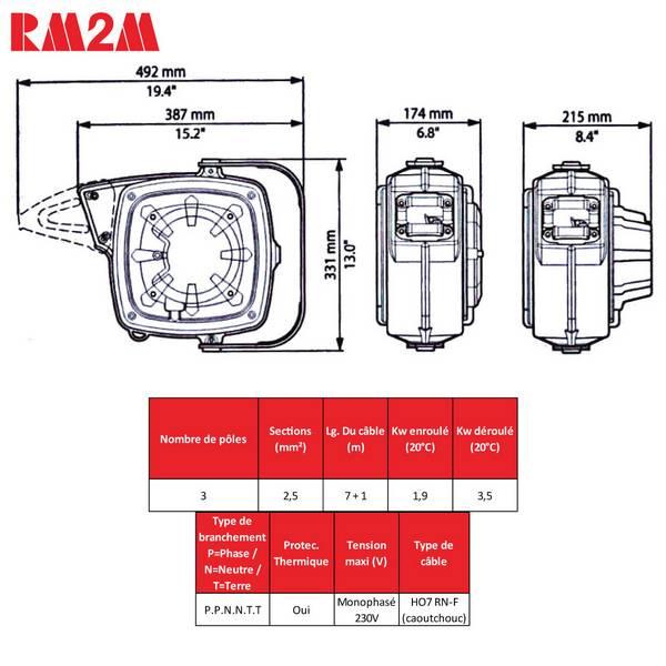 Enrouleur de câble à rappel automatique • Câble 3G2,5 • 8m • Série 280