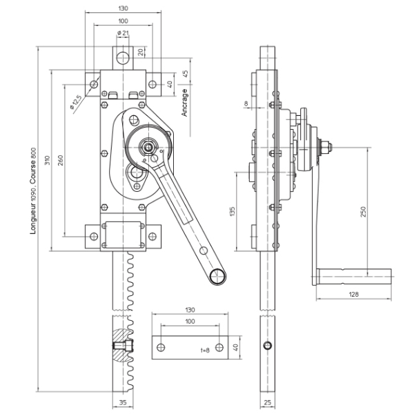 Treuil      à crémaillère à vis sans fin en acier (version traction et pression) • 1500 kg