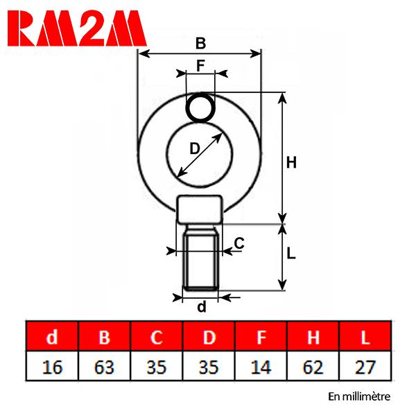 Anneau de levage haute résistance  – Tige filetée M16 – CMU 700 kg