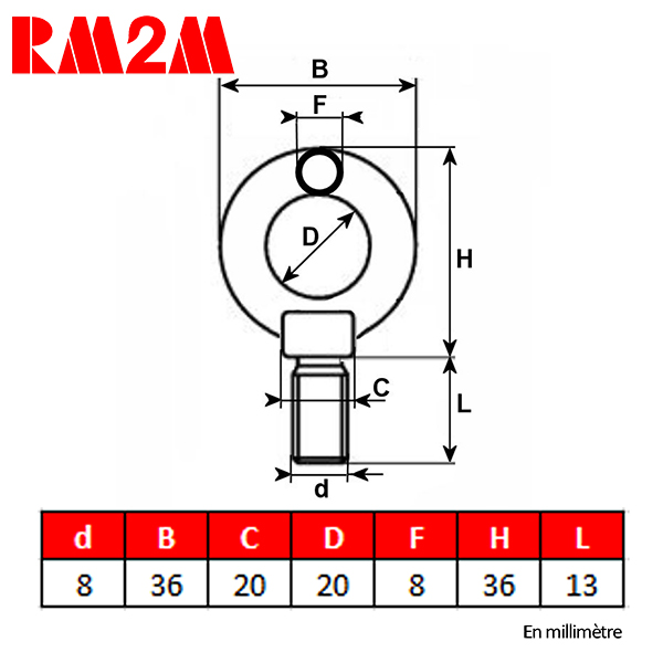 Anneau            de levage haute résistance – Tige filetée M8 – CMU 140kg