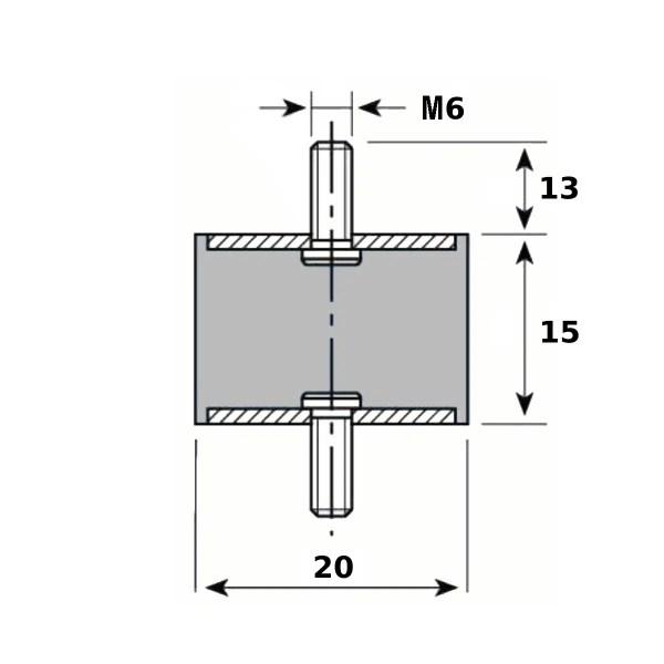 Tampon caoutchouc Silentbloc Ø 20 x 15 mm • 2 Tiges filetées M6 x 13 mm