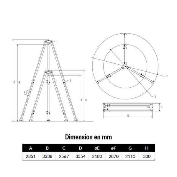 Tripode 1 000kg levage de 2,35 à 3,34 m