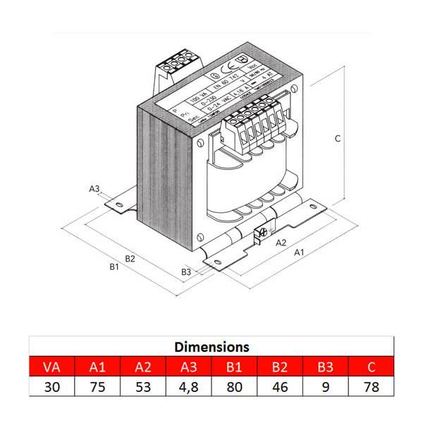 Transformateur monophasé 230/400VAC- Puissance 30VA