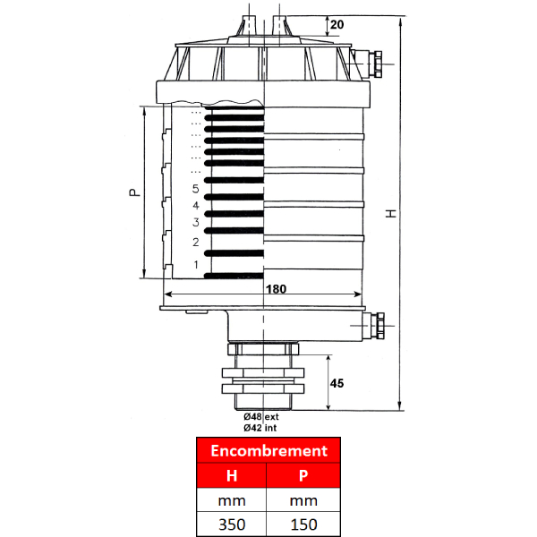 Collecteur électrique PRP 10 bagues, avec lamelles, 30A