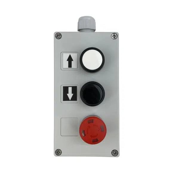 Boîte à boutons pneumatique pour circuit de commande 2,7 x 4 mm 1 vitesse de levage • arrêt d'urgence