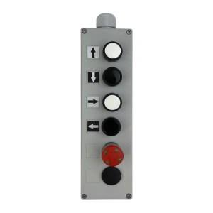 Boîte à boutons pneumatique pour circuit de commande 2,7 x 4 mm 1 vitesse de levage • 1 vitesse de direction • arrêt d'urgence