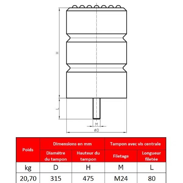 Tampon    amortisseur en polyuréthane élastomère M24 x 80 • Ø315 x 475 mm