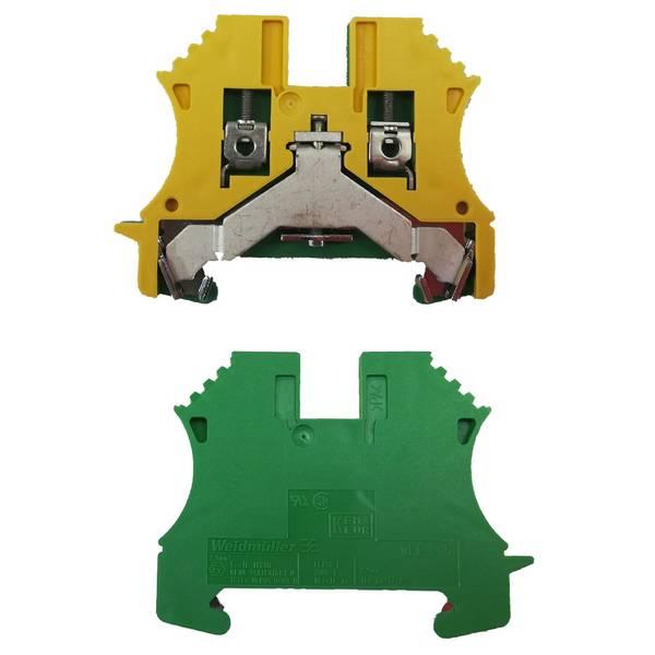 Borne de terre pour montage sur rail oméga pour fil 4 mm² (serrage par vis)