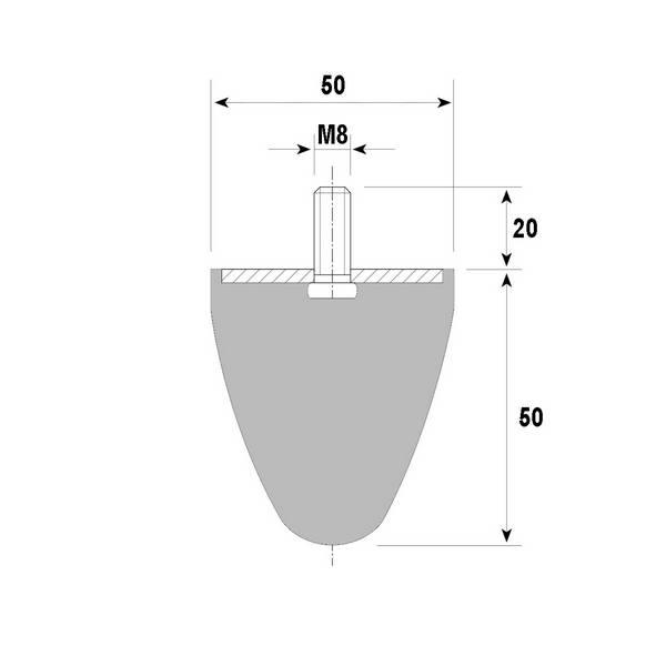Tampon amortisseur conique caoutchouc Ø50 x 50 mm • Tige filetée M8 x 20 mm