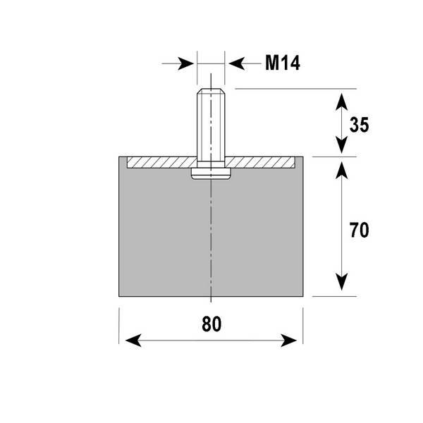 Tampon amortisseur Silentbloc Ø80 x 70 mm • Tige filetée M14 x 35 mm