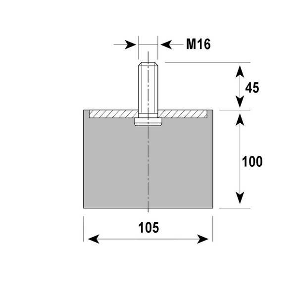 Tampon amortisseur cylindrique caoutchouc Ø105 x 100 mm • Tige filetée M16 x 45 mm