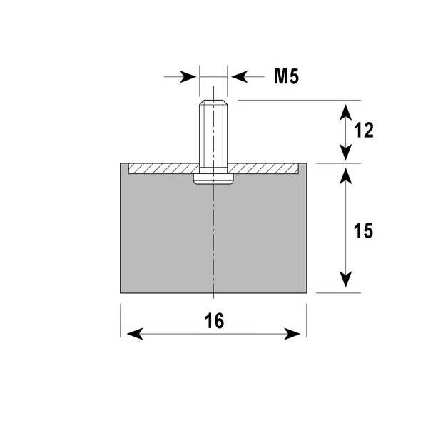 Tampon amortisseur cylindrique caoutchouc Ø16 x 15 mm • Tige filetée M5 x 12 mm