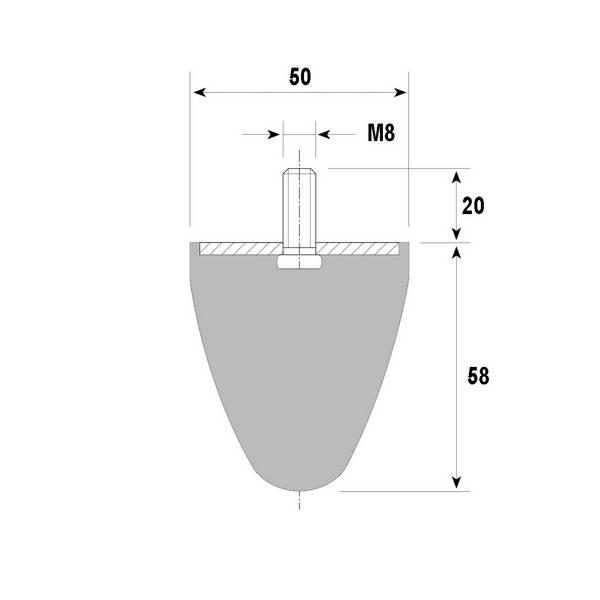 Tampon amortisseur conique caoutchouc Ø50 x 58 mm • Tige filetée M8 x 20 mm