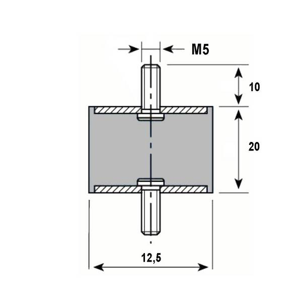 Tampon caoutchouc Silentbloc Ø 12,5 x 20 mm • 2 Tiges filetées M5 x 10 mm