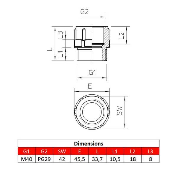 Adaptateur M40 – PG29 pour presse-étoupe