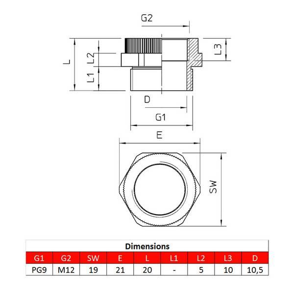 Adaptateur PG9 – M12 pour presse-étoupe
