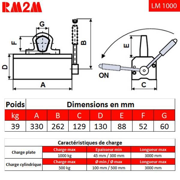 Aimant       de levage 1000 kg • LM1000