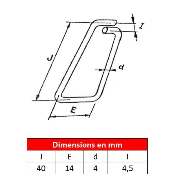 Linguet         de sécurité en fil d'acier • Type 40
