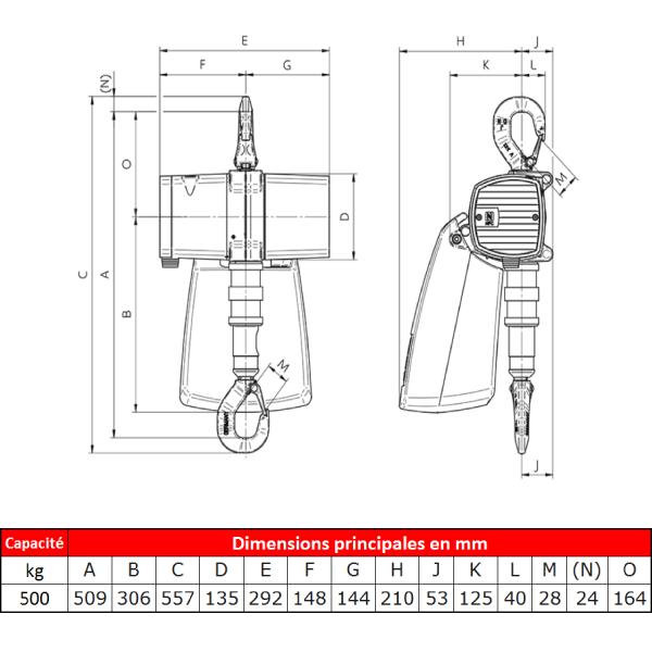 Palan                   pneumatique J.D. Neuhaus ATEX • Usage standard • 500 kg