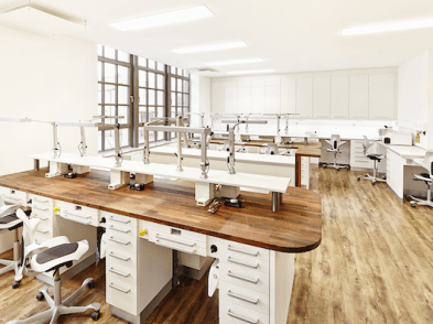 Large dental laboratory with bright lights