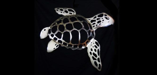Stainless Steel Backsplash With Sea Turtles