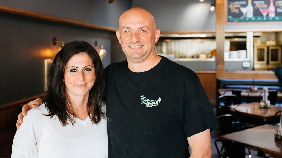 Kosta and Judy, the owners of Varlamos Pizzeria