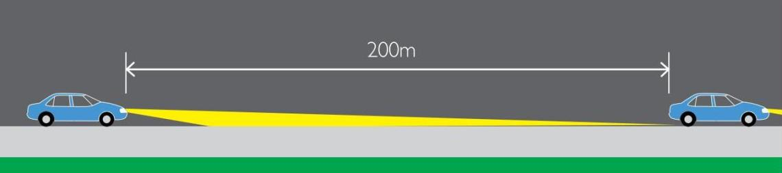 One vehicle approaching 200m behind another vehicle
