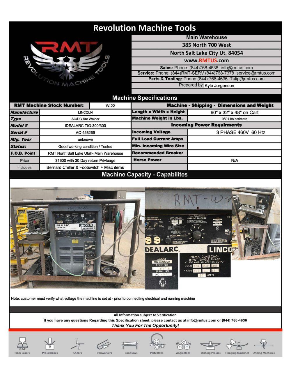W-22 Lincoln Idealarc Tig 300 - 300