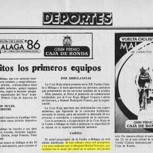 1986 Cartel realizado por Rafael Navajas RNaes para la 20 vuelta ciclista a Málaga colaborando con la Caja de Ronda