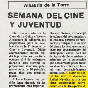 Cartel de la segunda semana de cine y juventud de alhaurín de la Torre (Málaga) realizado por el diseñador gráfico RNaes (Rafael Navajas Escalera) en 1984 publicado en el Diario Sur mención provincial