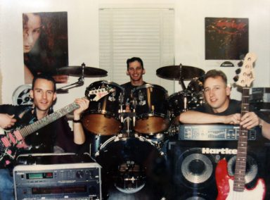 Rich, Brett and Joe while recording Oxymoronic and RUSH Covers