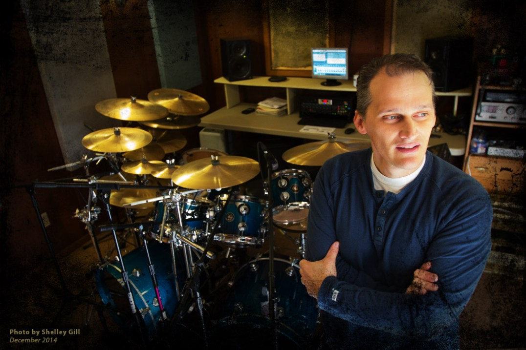 Richard Geer 2014 with His DW Drumset Inside His Home Studio
