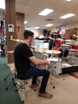 Joseph demonstrating tuning on a Ludwig snare drum