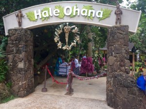 Getting Ready to Take TIckets at the Hale Ohana Luau at the Polynesian Cultural Center