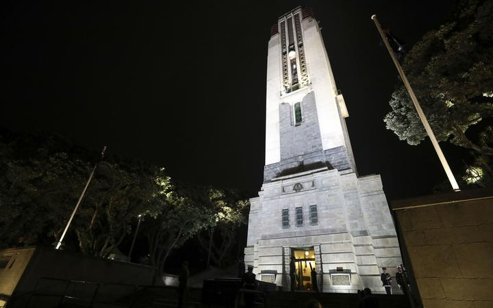 The National War Memorial carillon tower before the commencement of the dawn service