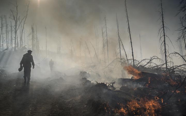 A forest fire in the republic of Buryatia in eastern Siberia.