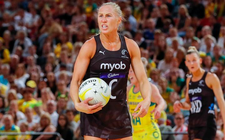Laura Langman of the Silver Ferns reacts to a call in the final match of the 2019 Contsellation Cup series in Perth.